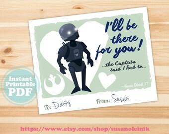 Instant Download: Printable Star Wars K2S0 Classroom Valentine - PDF