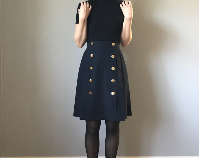 Vintage Navy Accordion Pleat Skirt Gold Buttons