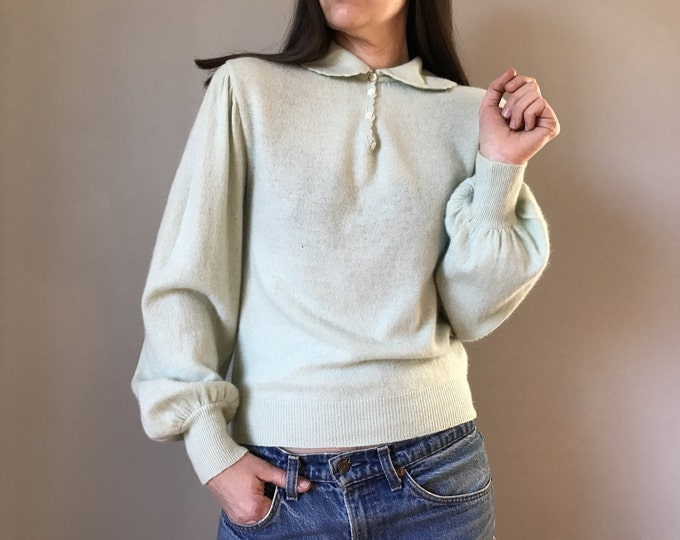 Vintage Spearmint Sweater Peter Pan Collar