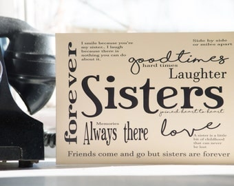 Sisters Card for birthday or thinking of you, long distance sister card