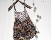 Girls Romper With Vintage Lace Trim, black and mustard floral, size 3-6 months 6-12 months