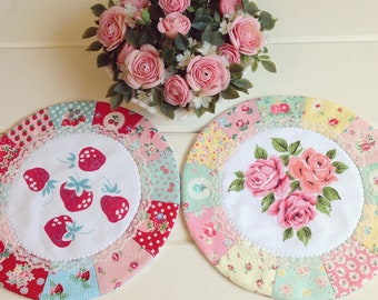 recreate a sweet vintage strawberry patchwork doily