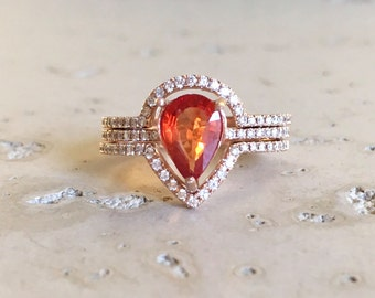 Orange Sapphire Engagement Ring- Rose Gold Sapphire Engagement Ring- Pear Shape Sapphire Engagement Ring- Sapphire Engagement Ring Set