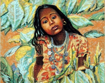 Young Nepalese Girl Fine Art Print, Giclee Print, Pastel Painting By Jan Maitland, Young Girl, Nepal, Portrait, Figure