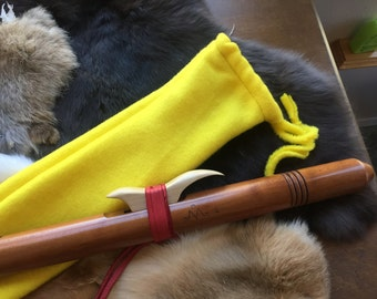 Flute Sock -- yellow -- Native American Flute -- fleece bag pouch tote bag liner protection