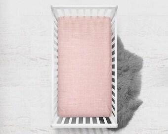 Linen Fitted Crib Sheet in Petal, Linen Crib Sheet, Blush Pink Crib Sheet, Fitted Crib Sheet, Baby Bedding, Linen Baby Bedding