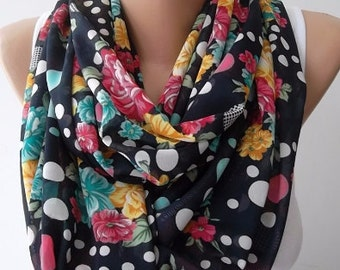 Christmas Gift Holiday Gift Scarf, Chiffon loop scarf Floral polka dot scarfs fashion accessories gift for her