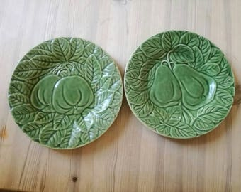 A pair of Vintage  embellished fruit plates