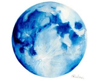 Moon Watercolor Art, Original Artwork, Original Watercolor Painting, Moon Watercolor Painting, Full Moon Art, Moon Watercolor, Moon Wall Art