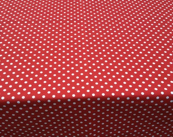 "50"" X 140"" Red with 1/4"" Small White Polka Dots Table Cloth Only"