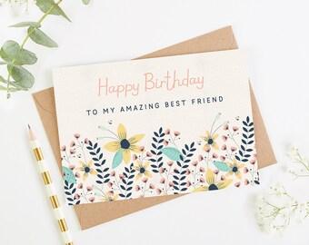 Best Friend Birthday Card Floral Bright