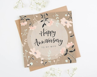 Wife Anniversary Card Kraft Pink Floral