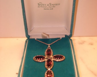 Danecraft Sterling and Amethyst Glass Cross and Chain in Original Box