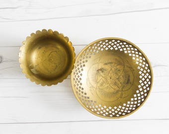 Vintage Brass Engraved Bowls Set of 2
