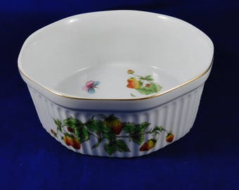 Souffle Dish, Linwile Ardalt Strawberry China, Souffle Dish, Butterflies, Lady Bugs and Wild Strawberries,  Kitchen