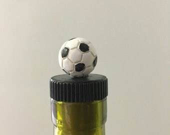 Soccer Wine Stopper, Soccer Wine Topper, Gift for Soccer player, Man Cave Bottle Stopper, Wine Cork, Gift for wine Lover
