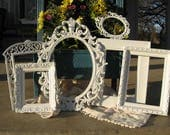 Set Of 6 Shabby Chic Ornate Picture Frames / White Picture Frame Set / Wedding / Nursery Frame Collection