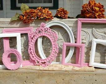 Baby Girl Nusery Frame Collection /  Set Of 8 Pink And White Frames / Shabby Chic Wall Decor