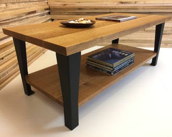 QUICK SHIP-Hudson coffee table featuring quartersawn white oak with steel legs. Industrial coffee table. Contemporary coffee table.