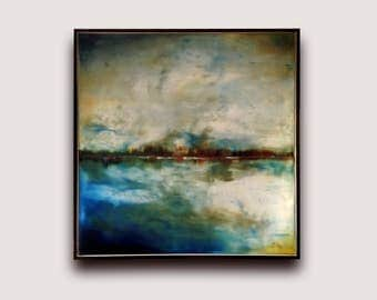 Semi-Abstract Landscape oil Painting, abstract landscape painting, landscape art, framed ready to hang painting, landscape wall art abstract