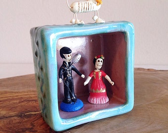 Handmade Ceramic Pottery Nicho Box or Vignette Southwest Colors