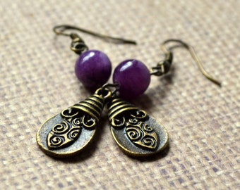 Bohemian Purple Jasper Antique Bronze Dangle Earrings FREE Shipping Natural Stone Drop Boho Chic Rustic Fashion Jewelry Paisley Beading