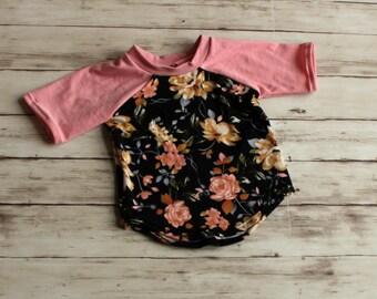 Girls floral shirt, Baby Raglan, Girl Baseball Tee, Kids Raglan, Girl Play Shirt, Toddler Tee, Kid Top, Baby Gift, Coming Home Outfit