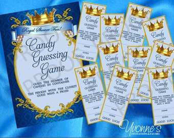 Royal Baby Boy Little Prince Party Guessing Game - Set of 48 tickets + 1 Game Sign for Baby Shower