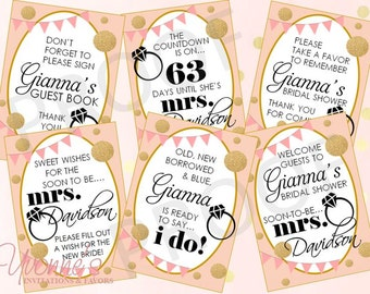 Bridal Shower Signs / Decorations - Party Signs: Welcome, Guest Book, Favors, Countdown - Soon To Be Mrs - Blush Pink and Gold - SET OF 6