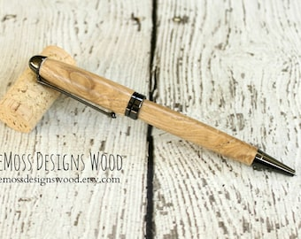 Chestnut Wood Pen, Wood Turned, Euro Style, Black Ink, Gun Metal Finish