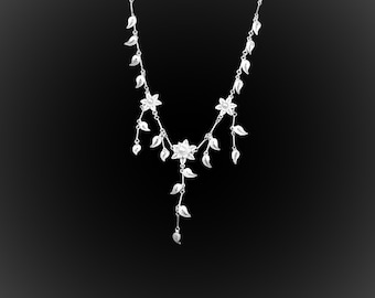 Necklace petal with love in silver embroidery