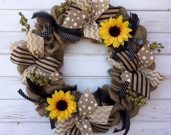 Summer Sunflower Neutral Tone Burlap Wreath--Front Door Wreath--Sunflower Wreath--Burlap Wreath--Spring Wreath