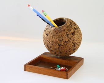 Vintage Cork Ball Pencil Pen Holder Desk Organizer Wood Tray Office Supplies 1970's Decor