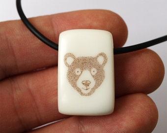 Bear pendant, Bear necklace, Bear jewelry, Corian pendant, Scrimshaw necklace, Scrimshaw pendant, Bears, Bear head pendant, Bear head