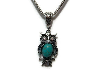 Owl with Turquoise stone and Rhinstones.