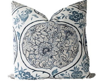 Decorative Designer Schumacher Katsugi, Blue Pillow Cover, 18x18, 20xx20, 22x22 Throw Pillow