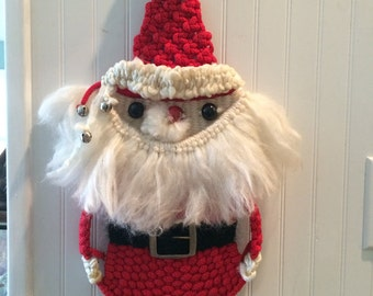 Kitschmas decor, Vintage Santa decoration, macrame Santa