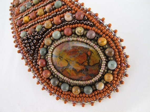 Barrette Stone canyon jasper cabochon with picture jasper 4mm beads and seed beads bead embroidered with 3 inch French barrette