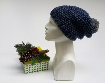 Gift Crochet Hat, Winter Chunky Beanie, Christmas Gift Beanie, Soft Hat Blue, Knit Fashion Beanie, Hand Knit Beanie Gift, Crochet Knit Beret