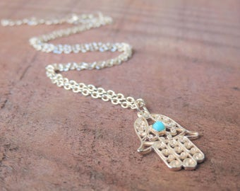 Hamsa Necklace, Protection Necklace, Gold Healing Turquoise Necklace, Boho Necklace