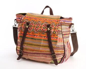 Boho Stylish Convertible Messenger Bag Backpack Festival Bag Boutique Handmade