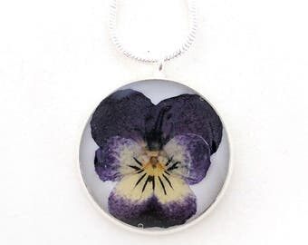 Real Viola Resin Pendant Necklace -  Real Pressed Violet Encased in Resin, Pressed Flower Jewelry - Resin Jewelry, Botanical Jewelry
