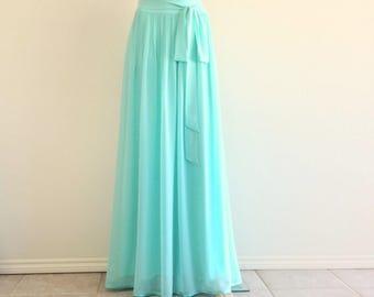 Baby Blue Bridesmaid Skirt. Baby Blue Floor Length Skirt. Chiffon Maxi Skirt. Long Evening Skirt.