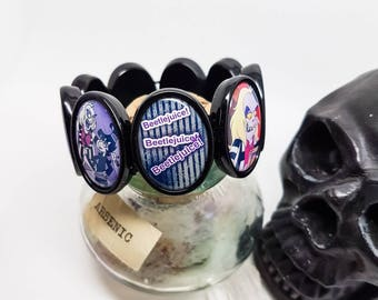 Beetlejuice bracelet, Beetlejuice jewellery, Beetlejuice cartoon, Tim Burton, Lydia Deetz, strange and unusual