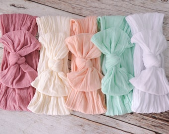 Nylon Knot Bow Headwrap, One size fits all nylon headbands, wide nylon headbands, baby headbands, baby shower gift, soft nylon head wrap