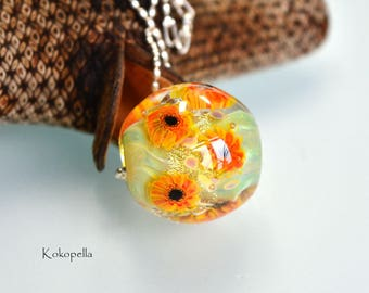 Glass bead lampwork, sunflower, artist, necklace - pendant, design by Kokopella