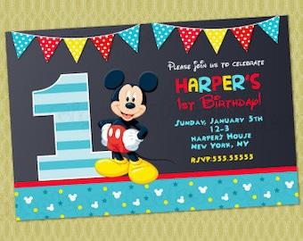 Mickey Mouse 1st Birthday Invitations, Mickey Invitations, Mickey Mouse First Birthday Invitations , Baby Mickey Mouse Invitations