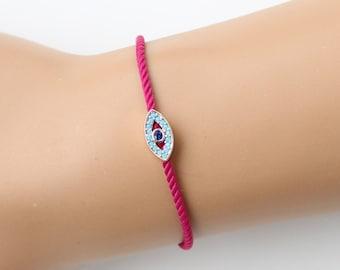 Evil eye bracelet, turkish eye, fuchsia bracelet, fashion jewelry, adjustable bracelet, christmas gift, rose gold, evil eye jewelry