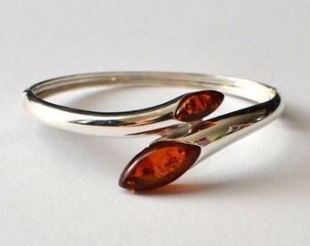 Amber Bracelet, Cognac Amber Bracelet,  Natural Baltic Amber & Sterling Silver Bracelet, Amber Jewelry