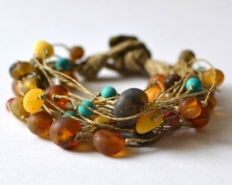 Coral Amber Linen Bracelet / Natural Baltic Amber Coral Turquoise Bracelet / Rustic Sea Inspired